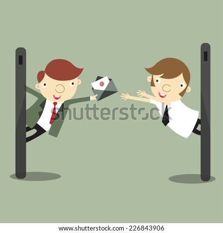 Businessman sending messages by smartphone, VECTOR, EPS10 - stock vector