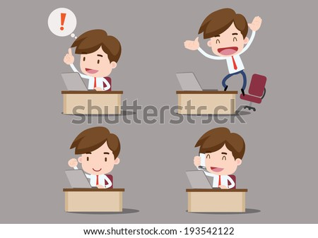 Businessman series - at our desks - stock vector