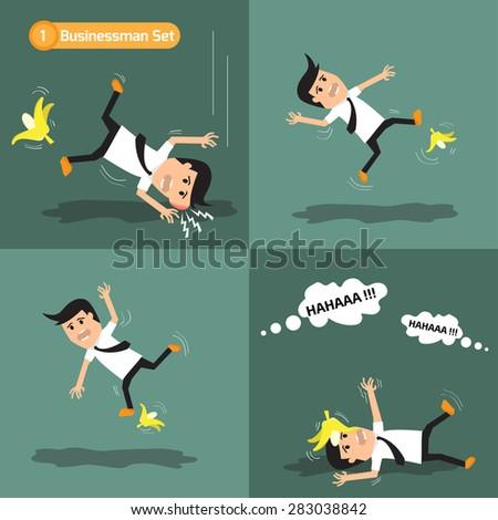 Businessman set: man slipping on a banana peel. vector illustration. - stock vector