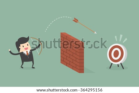 Businessman Shoot Arrow Over The Wall To The Target. Business Concept Cartoon Illustration. - stock vector