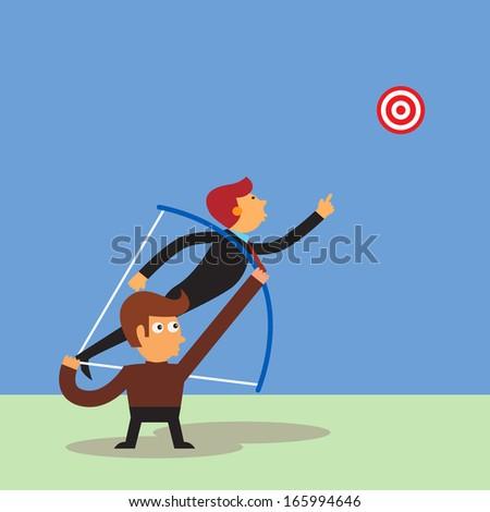 Businessman shoot target with human arrow - stock vector