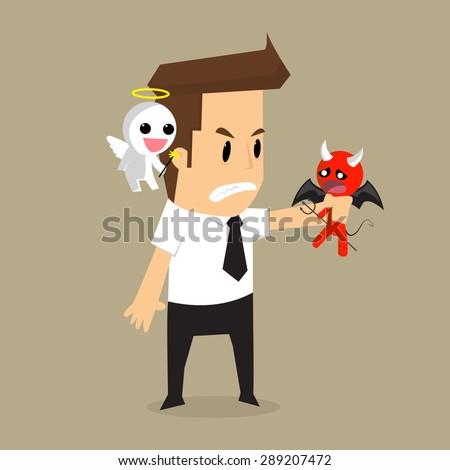 businessman shoulder devil and angel. vector - stock vector