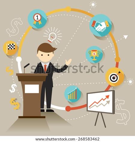 Businessman Show Success Achievement Presentation with Icons, Flat Design of Business Marketing, Success and Achievement - stock vector