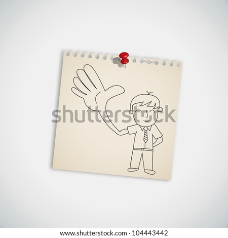 businessman showing five fingers on note paper vector - stock vector
