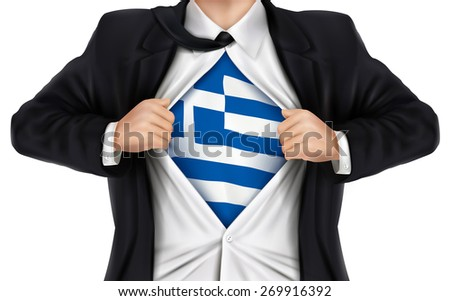 businessman showing Greece flag underneath his shirt over white background - stock vector