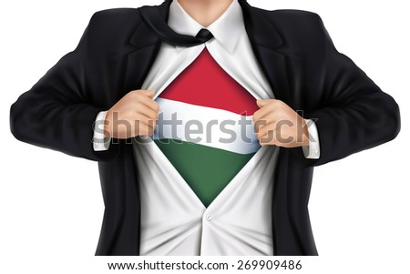 businessman showing Hungarian flag underneath his shirt over white background - stock vector