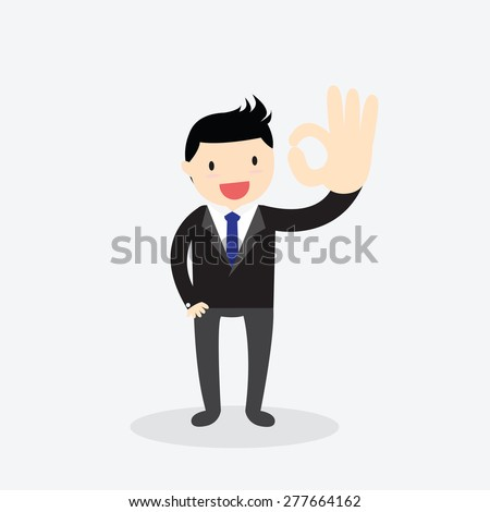 Businessman showing okay hand gesture. Ok hand sign. - stock vector