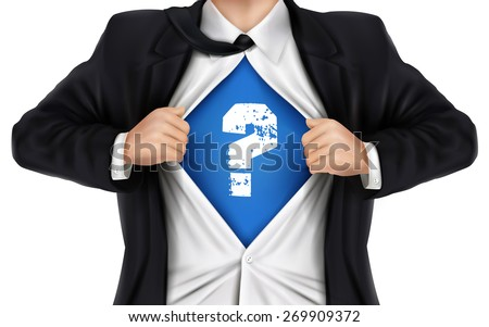 businessman showing question icon underneath his shirt over white background - stock vector