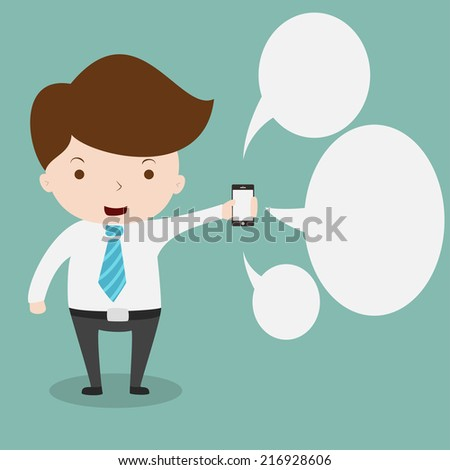 Businessman showing smartphone with bubble chat. - stock vector