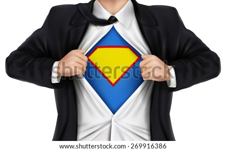 businessman showing superhero icon underneath his shirt over white background - stock vector