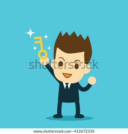 businessman showing the key to success - stock vector