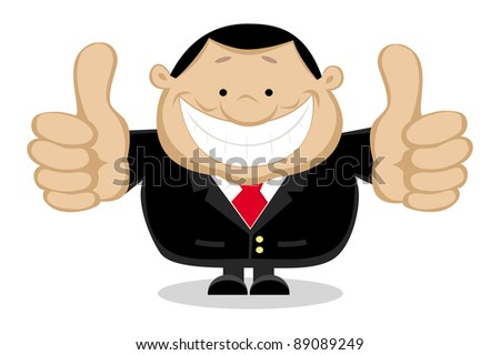 Businessman showing thumbs up. Separate layers. Vector illustration - stock vector