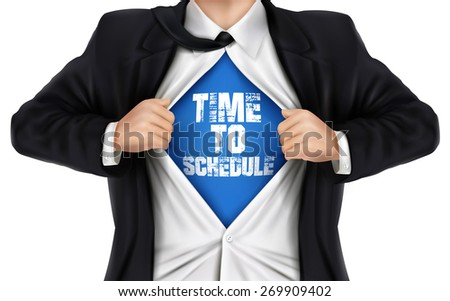 businessman showing Time to schedule words underneath his shirt over white background - stock vector
