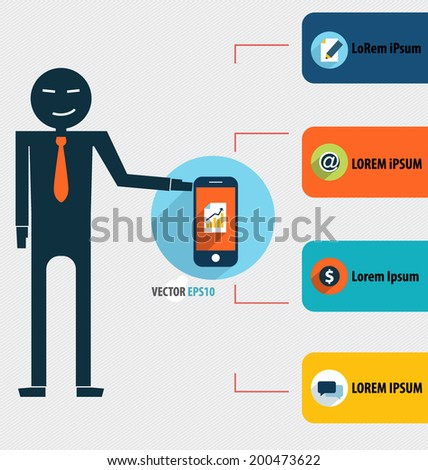 Businessman showing touchscreen device. Vector illustration. - stock vector
