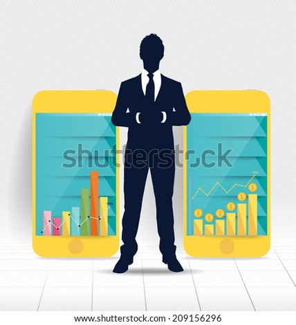 Businessman showing touchscreen device with graph and Infographic design template. Vector illustration. - stock vector