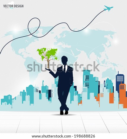 Businessman showing Tree shaped world map. Vector illustration. - stock vector