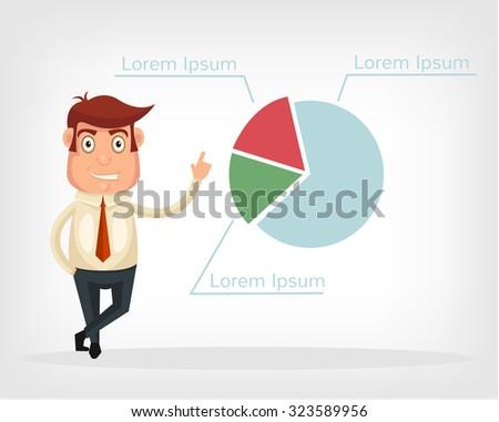 Businessman shows graph. Vector flat illustration - stock vector