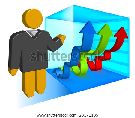 Businessman shows schedule with arrows creeping upwards, vector illustration for presentation - stock vector