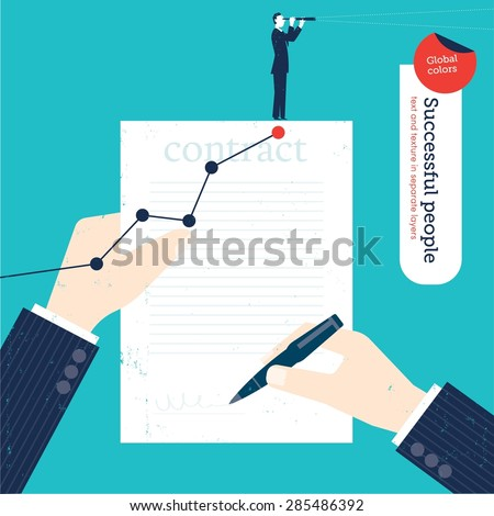 Businessman signing a contract with chart and businessman with spyglass. Vector illustration Eps10 file. Global colors. Text and Texture in separate layers. - stock vector