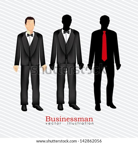 businessman silhouette over white background vector illustration - stock vector