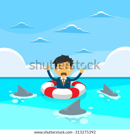Businessman Sing Sea Water Lifebuoy Sharks Around Concept Financial Crisis Flat Vector Illustration - stock vector