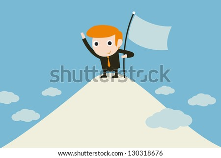 businessman sinking a flag - stock vector