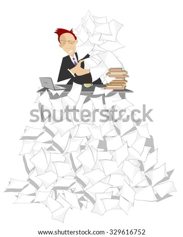 Businessman sits at the table on the high pile of documents  - stock vector