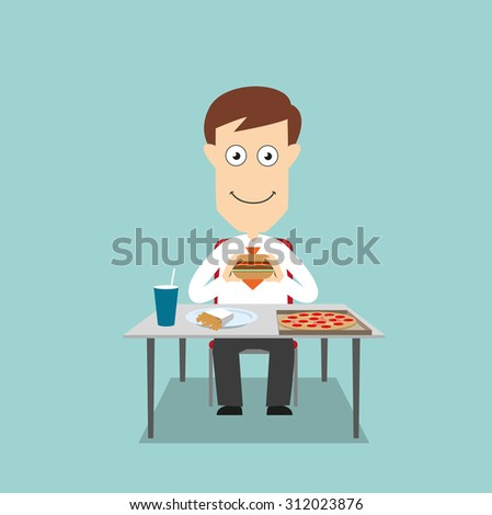 Businessman sitting at table and eating fast food lunch with pizza, hamburger, french fries and soda. Cartoon flat style - stock vector