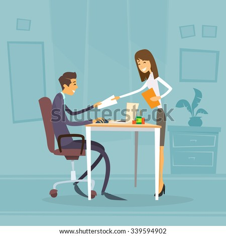 Businessman Sitting Office Desk Businesswoman Give Paper Concept of Secretary Apply Job Interview Business People Candidate Flat Vector Illlustration - stock vector