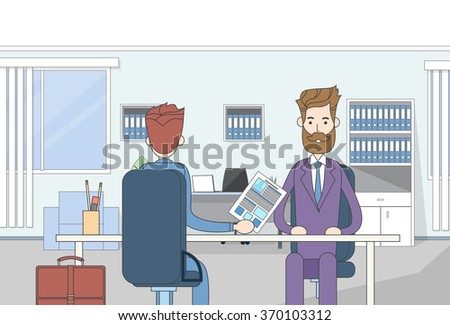 Businessman Sitting Office Desk Candidate Give Resume Job Interview Business People Vector Illustration - stock vector