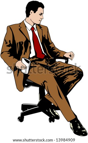 Businessman sitting on office chair - stock vector