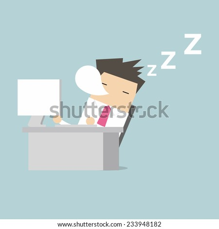 Businessman sleep during working - stock vector