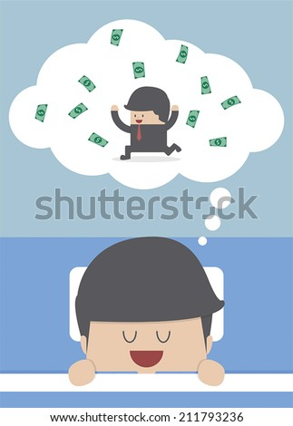Businessman sleeping and dreaming about success, VECTOR, EPS10 - stock vector