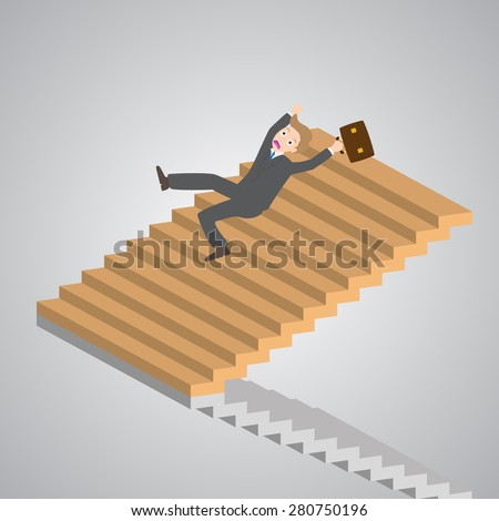businessman slipping down on the stairs, vector, illustration. - stock vector