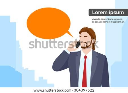 Businessman Smart Phone Talk Chat Bubble Communication Flat Vector Illustration - stock vector