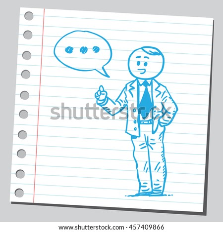 Businessman speaking three dots