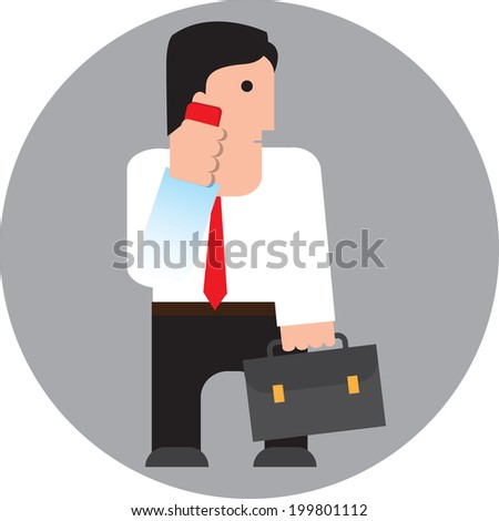 businessman speaks by the mobile phone, Vector illustration - stock vector