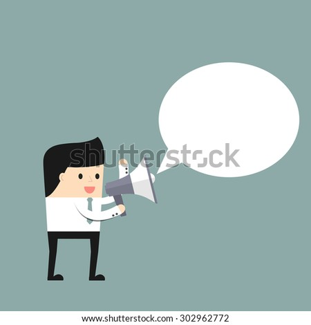 Businessman speaks in a megaphone.. Vector illustration. - stock vector
