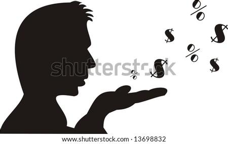 Businessman spending money - stock vector