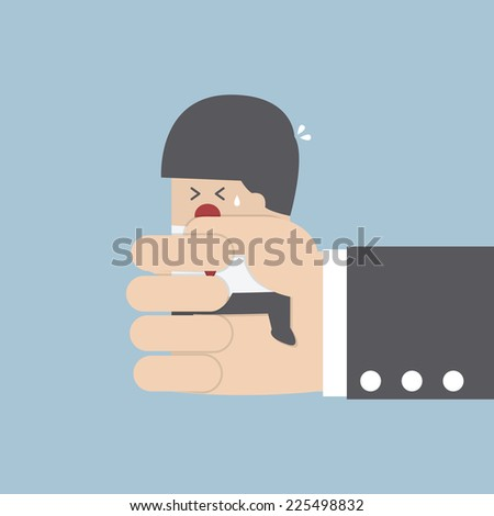Businessman squeezed by boss hand, VECTOR, EPS10 - stock vector