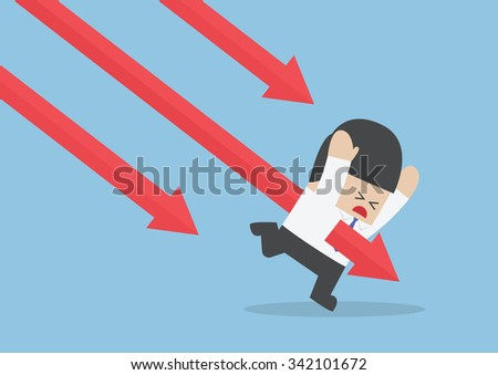 Businessman stabbed by downtrend arrow stock market, VECTOR, EPS10