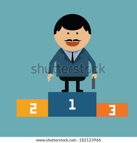 Businessman stand in the podium