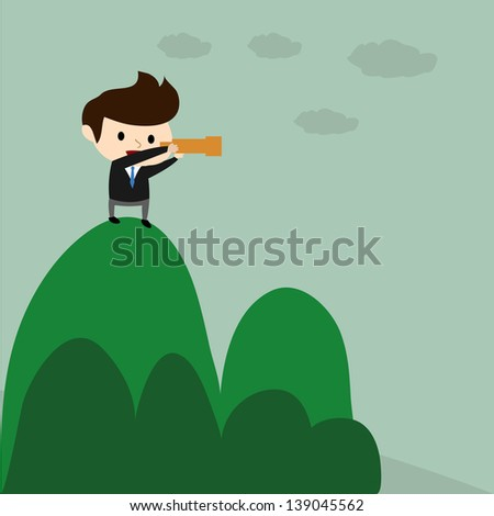 businessman standing and looking for the opportunity - stock vector
