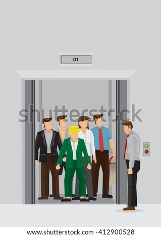 people inside elevator. businessman standing beside elevator full of people inside. vector cartoon illustration daily peak hour inside d