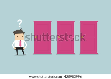 Businessman standing beside three doors, unable to make the right decision concept with question marks above his head - stock vector