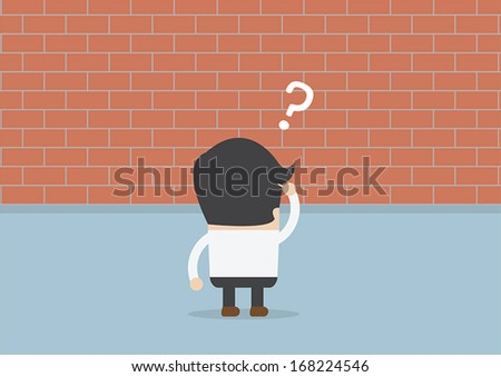 Businessman standing in front of a large brick wall, VECTOR, EPS10 - stock vector