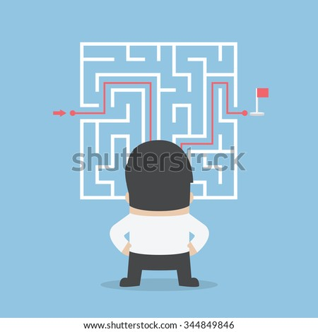 Businessman standing in front of a maze with a solution, VECTOR, EPS10 - stock vector