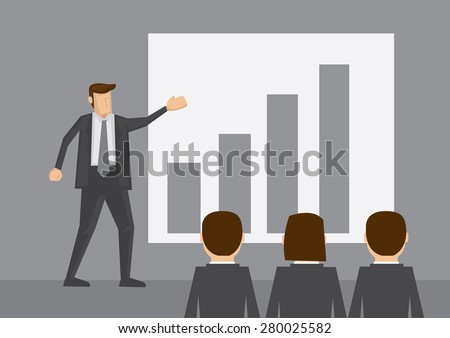 Businessman standing in front of bar chart do presentation to other business people. Cartoon vector illustration isolated on grey background.