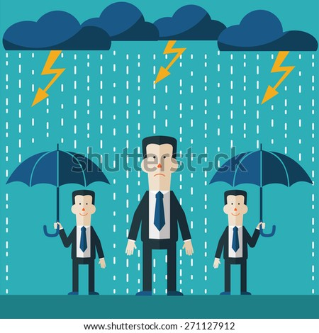 Businessman standing in the rain. Concept of businessman fail and competition. Other business mans standing with umbrella.