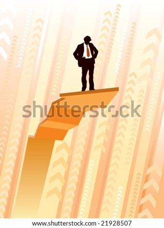 Businessman standing on a large climbing graph, conceptual business illustration. - stock vector
